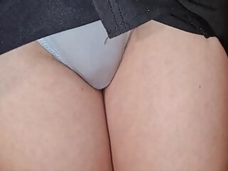amateur Hot teacher shows her smooth pussy.. brunette upskirt