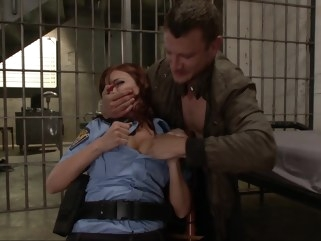 bdsm Policewoman gets her throat fucked pornstar red head